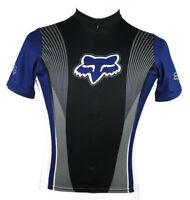 Fox Racing Bike Cycling 3/4 Zip Jersey Made in USA Blue Short Sleeve Size Small