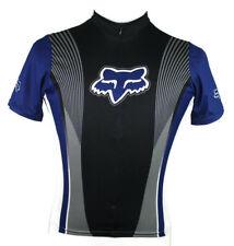 🔴 Fox Racing Bike Cycling 3/4 Zip Jersey Made in USA Blue Short Sleeve Size S