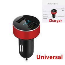 Red Adapter Car Charger For iPhone Samsung Dual USB 5v 3.1A Voltage LED Display