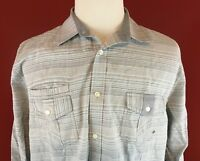 American Rag Cie Gray Striped Button Down Long Sleeve Shirt Mens size XL