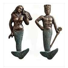 Neptune & Mermaid Verdigris Finish Foundry Iron Wall Hooks