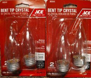 2 Pack ACE 40W Bent Tip Crystal CA10 Bulbs - Med. Base (E26) - New 4 Bulbs