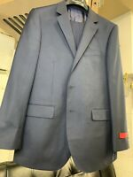New 60R Men's Navy Blue Suit 100% Wool Super 150 Made in Italy Retail $1295