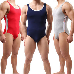 Mens Leotard Gym Bodysuit Jumpsuit Swimwear Swimsuit Wrestling Singlet Underwear