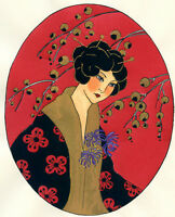 1930s French Pochoir Print Art Deco Asian Motifs Geisha Red Flowers Kimono