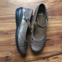 Dansko Mathilda Mary Jane Leather Dark Taupe Shoes Size 38 US 7.5M