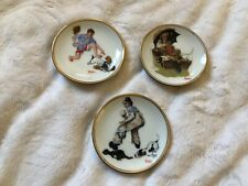 """""""The Best of Norman Rockwell"""" - 3 Mini Plates - 3 1/4"""" - """"Life with Dogs"""""""