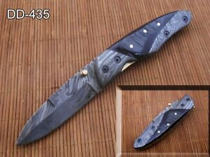 "Ram horn Damascus steel folding knife, 7.8"" Pocket clip, Thumb knob, Cow sheath"