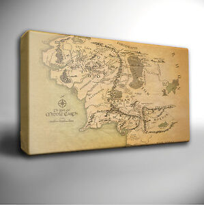 LORD OF THE RINGS MAP - Canvas Art Picture *Choose your size