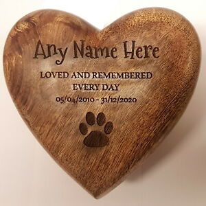 Heart Shaped Engraved Urn Pet Dog or Cat Wood  Casket Cremation Box Personalised