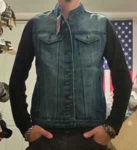 Gilet Cut jacket en jean sans manches denim couleur bleu col mao Bikers XS à 3XL