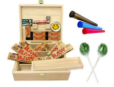 Rolling Supreme Wooden Box Set Raw Papers Tips Lolly Grinder Pipe Starter Kit UK