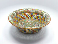 Antique 19th Century Chinese Export Rose Medallion Reticulated Basket