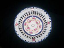 T. Limoges Porcelain Serving Bowl Dish Pink Roses/Ribbon Blue Gold Trim