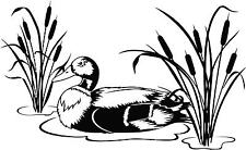 Duck in water with cattails vinyl wall decal