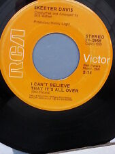 """SKEETER DAVIS 45 RPM """"I Can't Believe That It's All Over"""" """"Try Jesus"""" VG- cond"""