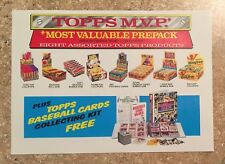 1987 Topps MVP, Most Valuable Prepack #638, RARE Wholesaler GPK Box Poster! TWT