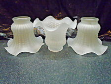 3 FROSTED RUFFLED WAVY HOBNAIL GLASS GLOBE SHADE CEILING FAN LIGHTNG REPLACEMENT