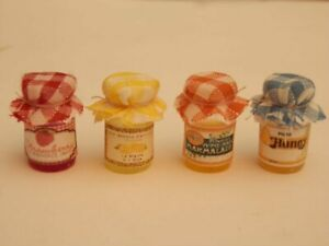 Dolls house food:Four Country kitchen pantry jars of assorted preserves -By Fran
