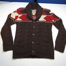SALT VALLEY WESTERN STYLE KNIT WOODEN BUTTON CARDIGAN SWEATER Sz Womens S Brown