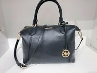 NWT Michael Kors Lenox LG Satschel Crossbody Leather Black/Gold