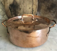 "Antique FRENCH COPPER Dutch Oven,early 1900,""FAIT TOUS"",Professionally Re-Tinned"