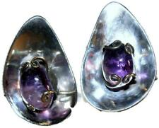 Art Deco Revival Earrings Eagle 3 1950s Taxco Mexican Sterling Silver & Amethyst