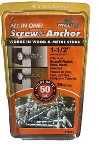 """Wall Dog Screw and Anchor 1-1/2"""" White Plated Wood & Metal 50lb Hold 25 pcs New"""