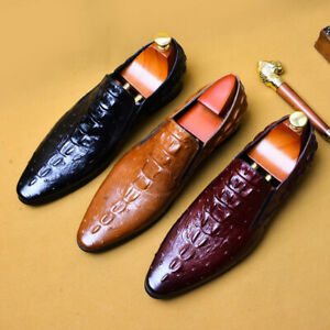 Men's Dress Formal Retro Shoes Business Real Leather Slip on Pointed Toe Pumps