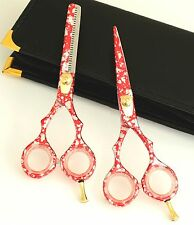 Silver Red Hairdressing & Hair Thinning Scissors set 5.5