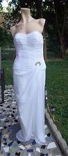 Carol Mignon Boutique Glamorous White Silk Jeweled Evening Dress Size 8 EUC