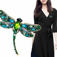Women Delicate Crystal Rhinestone Dragonfly Brooch Enamel Pin Jewelry Gifts