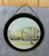 Antique Victorian Lithograph Flue Cover Sailboats 8""