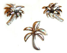 & Earrings Set Opal Inlays Mexico Taxco .925 Sterling Silver Palm Tree Pendant