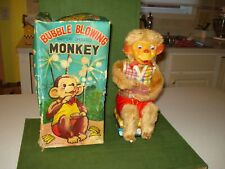 1962 BUBBLE BLOWING MONKEY BATTERY OPERATED TOY, w/BOX, WORKS BY ALPS