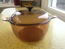 CORNING VISION WARE Amber Glass Dutch Oven Large Pot 4.5 L with Lid USA - EUC !!