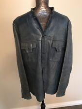 Vintage Silton Of California Unique Blue Distressed Leather Jacket 46 Mens