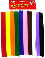 Pipe cleaners Chenille Stems Assorted Colours 300mm x 4mm 100