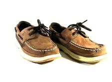 Boys Sperry Size 1M Top Sider Brown Leather Dress Shoes YB54294A
