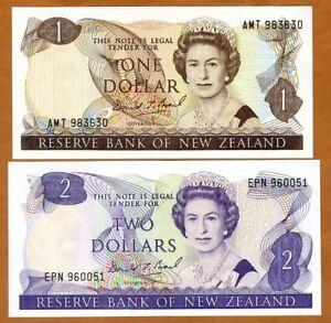 SET New Zealand, $1-2, ND (1989-1992), P-169c-170c, QEII,UNC