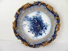 Antique Doulton Burslem Plate Flow Blue, Jewelered hand enameled blue