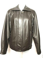 Vintage Preston York Brown Leather Bomber Jacket - Size Medium