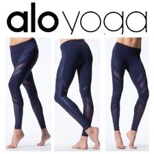 NEW $124  ALO YOGA 'Shine on' Epic Legging Luxé Breathable Mesh  Navy, M