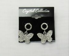 Silver Plated Dangle Drop Rhinestone Crystal Butterfly Earrings # 8634 New