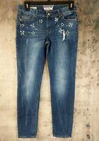 Hot Kiss Junior's Jeans Skinny Lily Sz 11 rhinestones embellished distressed B6