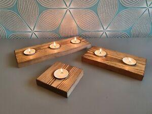 Rustic Wooden Tea Light Candle Holder Pine Handmade Set Of 3 Natural Wood Gift