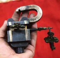 Tricky Padlock Heavy Handmade Puzzle Safety Lock 6 Keys Antique Style Brass BM44