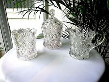McKee Glass Teutonic aka Long Star Cream & Sugar & Spooner Set c 1894