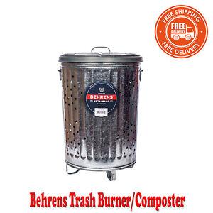 Galvanized Metal Burn Barrel Garbage Bin Cage Incinerator Burning Paper 20Gallon