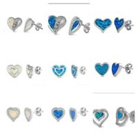 NEW .925 Sterling Silver HEART OPAL STUD EARRINGS